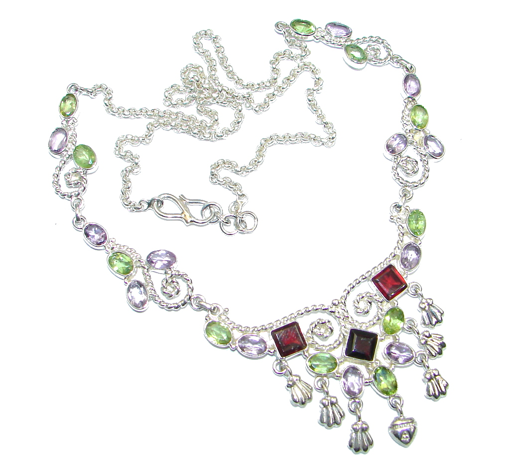 Aura Of Beauty Multigem Sterling Silver handmade Necklace