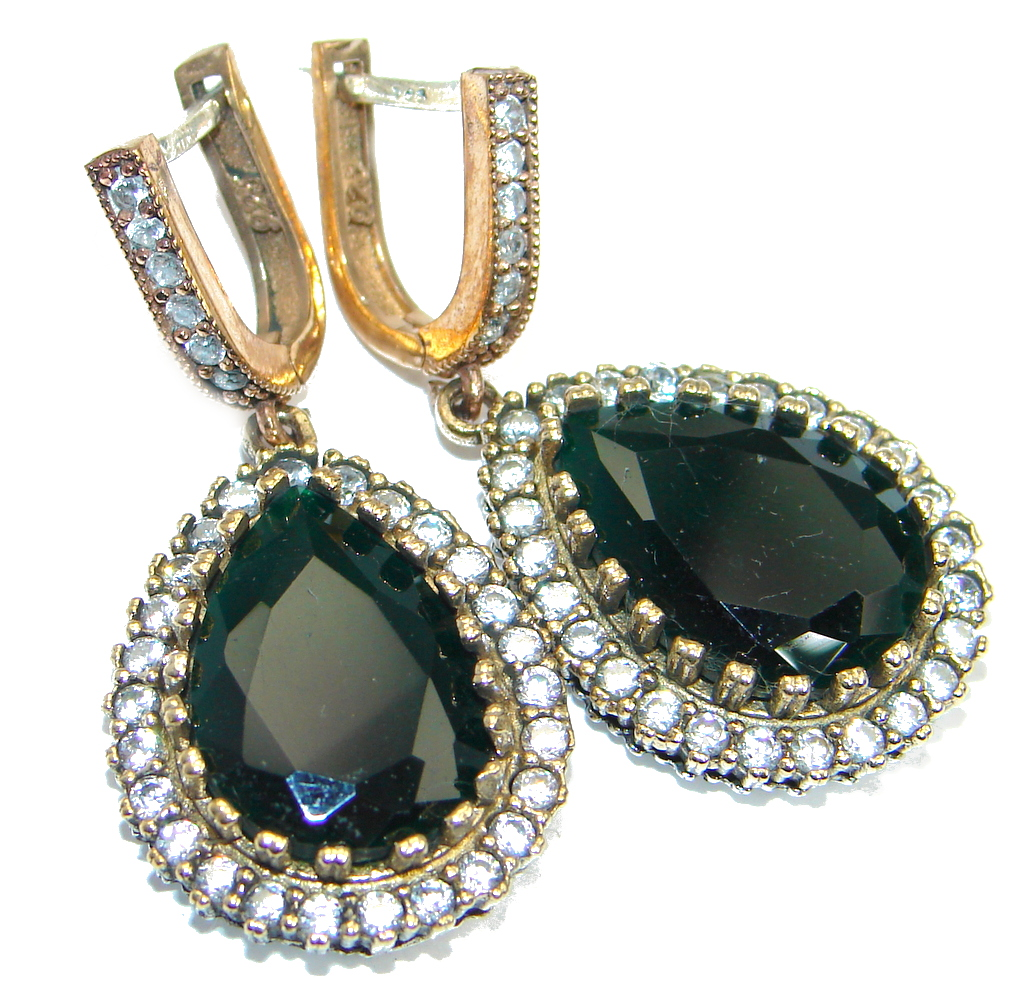 Victorian Style created Green Emerald copper over Sterling Silver earrings