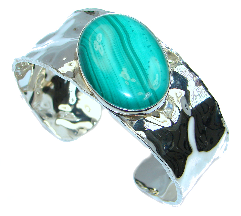 AAA Green Malachite Sterling Silver handcrafted Bracelet / Cuff