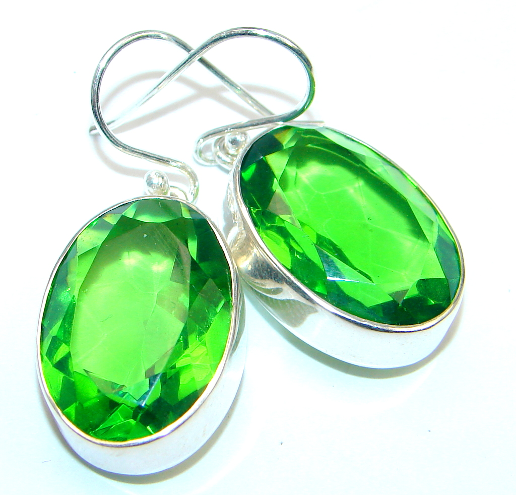 Handcrafted Green Quartz Sterling Silver earrings