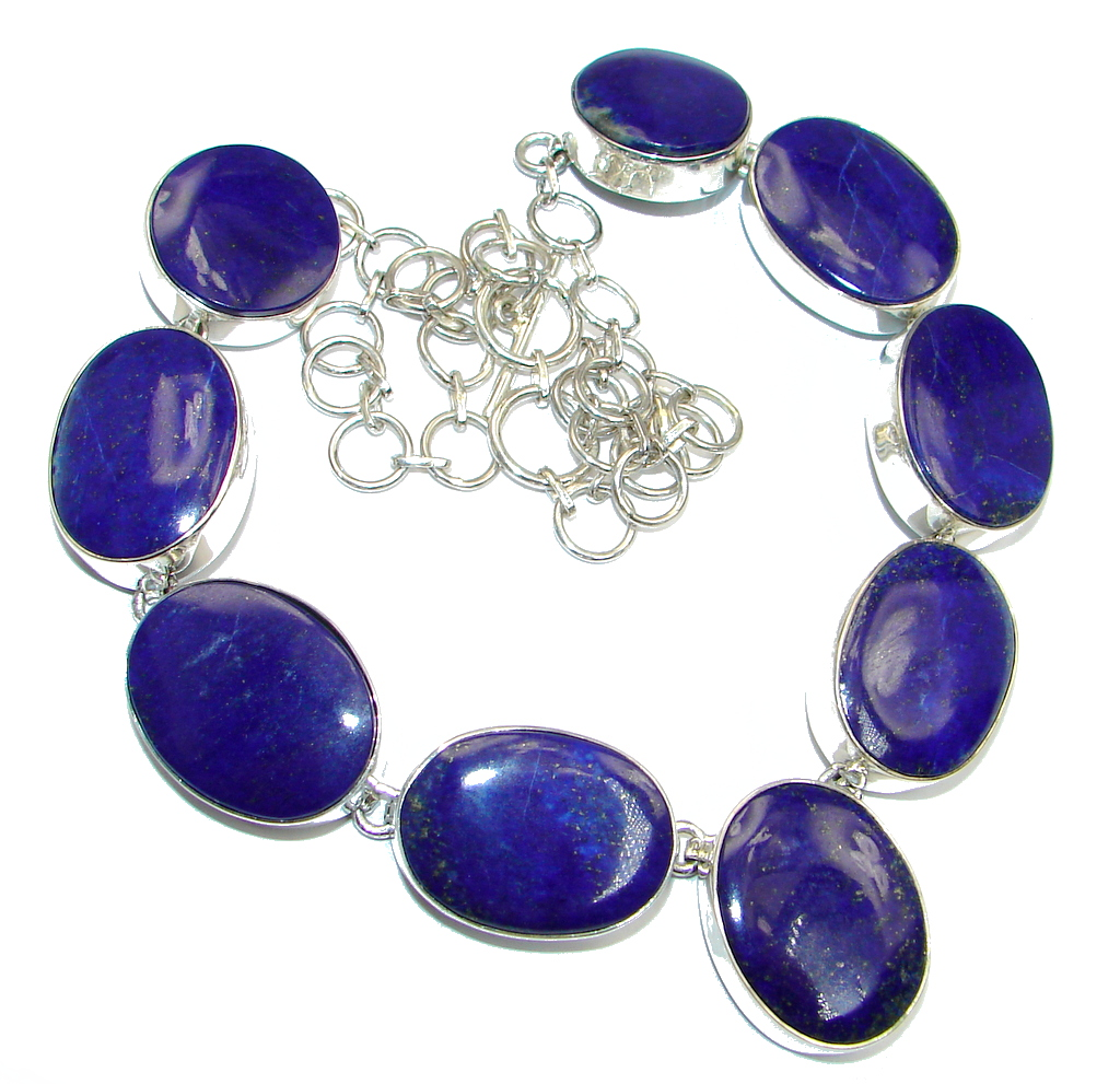 Afghan Lapis Lazuli Sterling Silver handmade necklace
