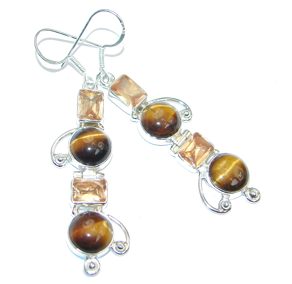 Golden Tigers Eye Sterling Silver handmade Earrings