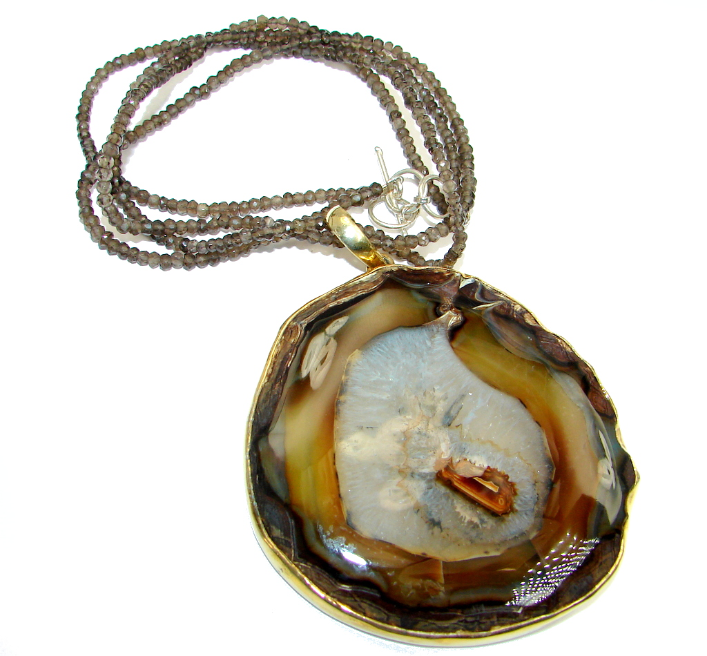 Giant Aura Of Beauty Natural Botswana Agate Gold over Sterling Silver handmade necklace