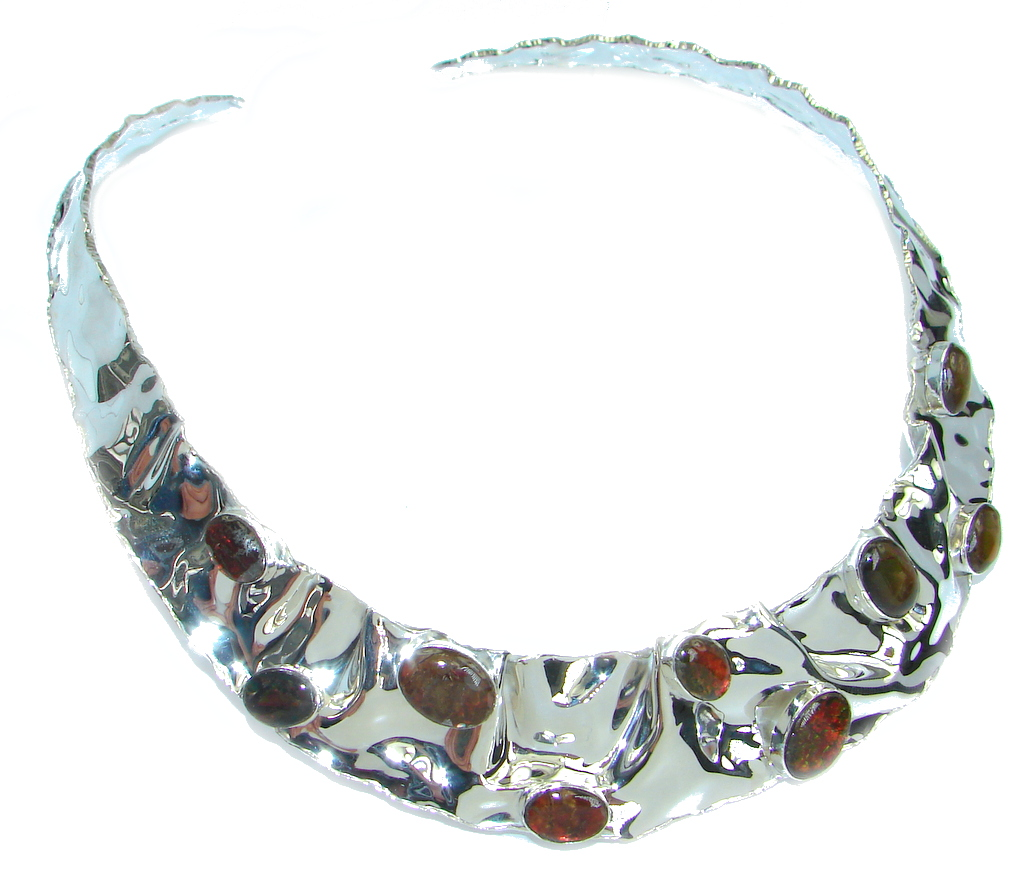 One of the kind Natural Canadian Ammolites Hammered Sterling Silver necklace Choker