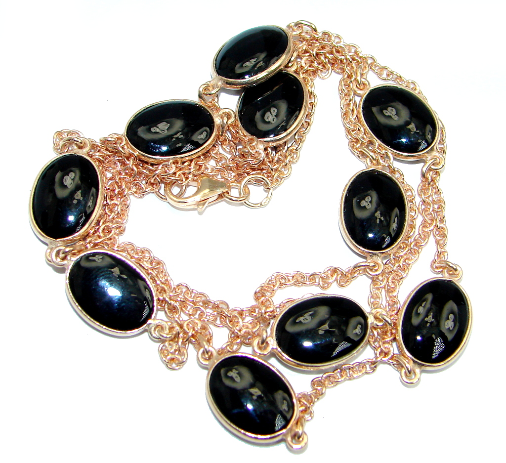 36 inches Genuine Onyx Rose Gold over Sterling Silver Necklace