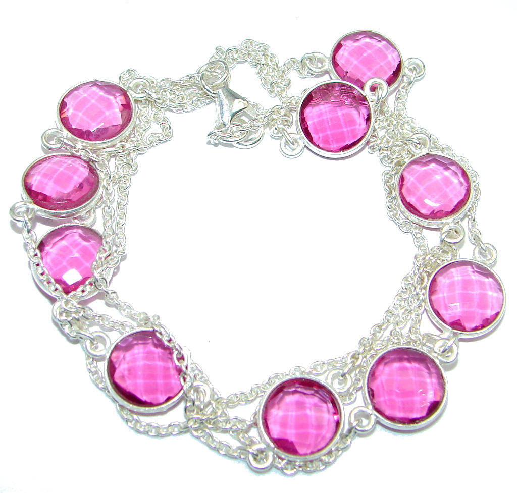 36 inches created Pink Sapphire Sterling Silver handmade Necklace