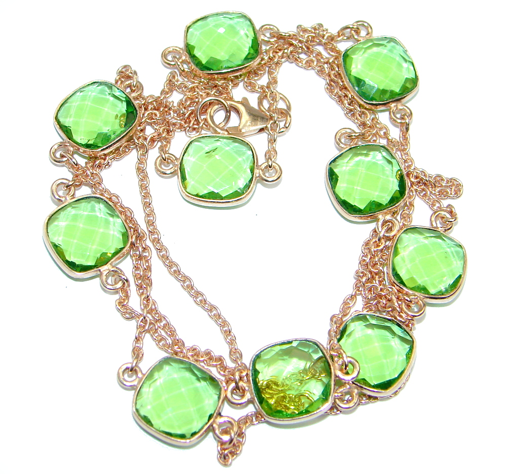 36 inches Created Peridot Rose Gold over Sterling Silver Necklace