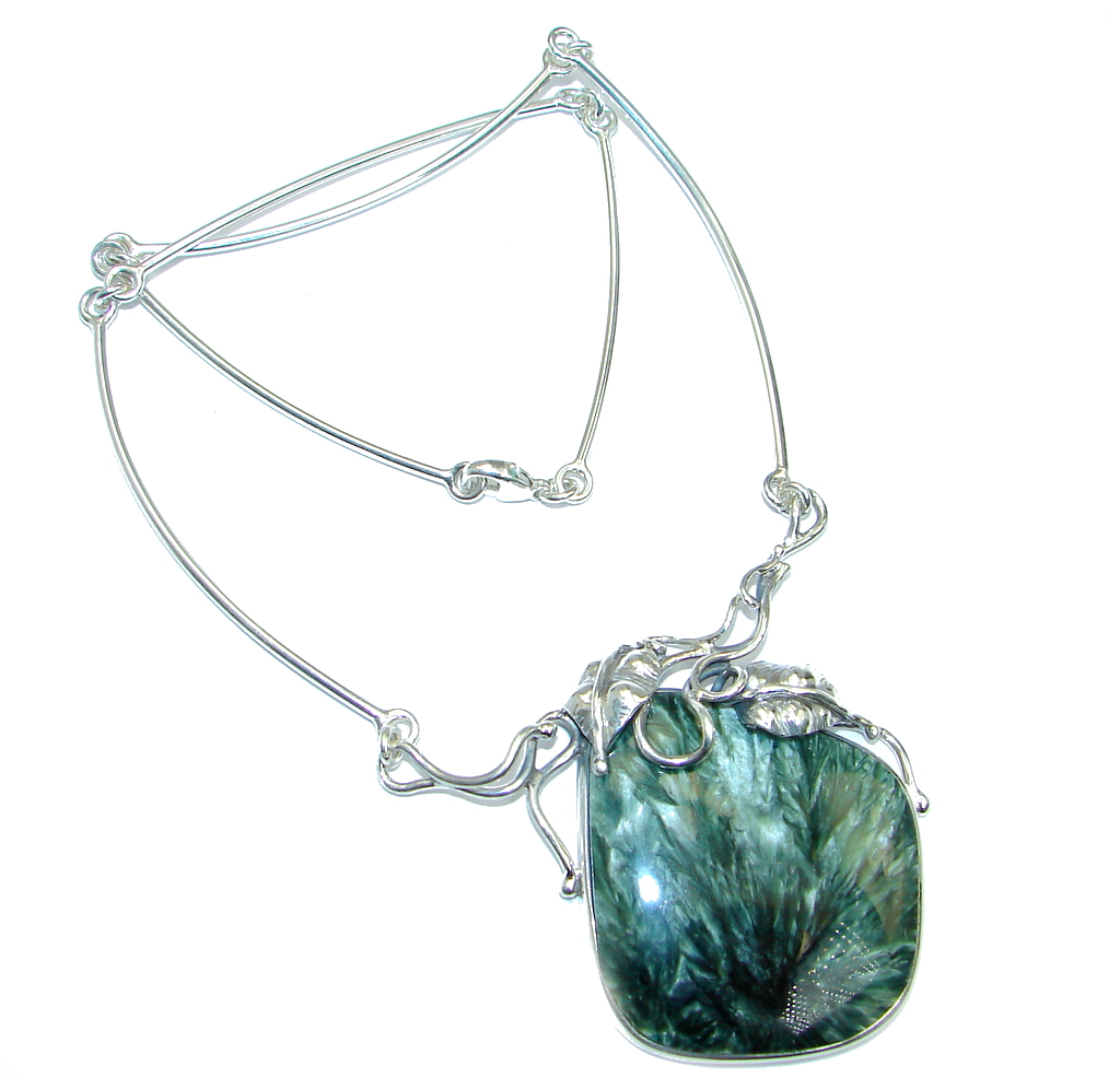 Authentic Russian Seraphinite Sterling Silver handmade necklace