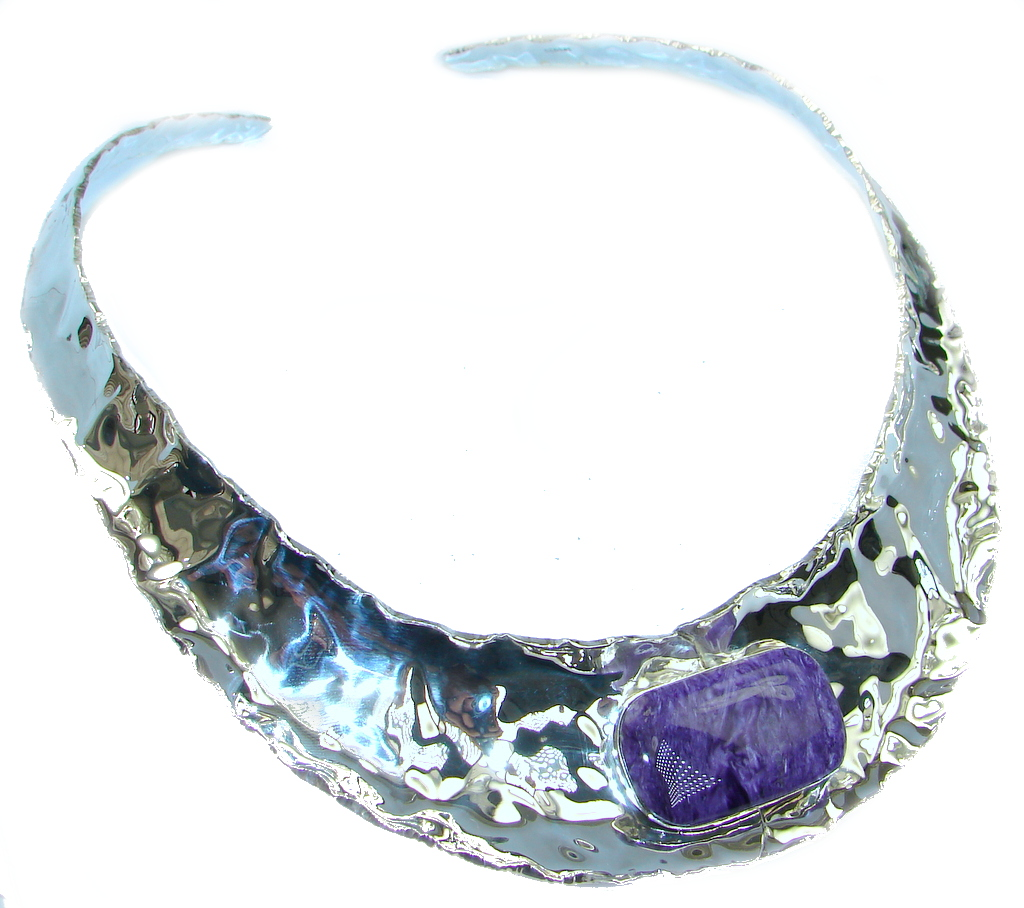 One of the kind Design AAA + Charoite Sterling Silver hammered necklace