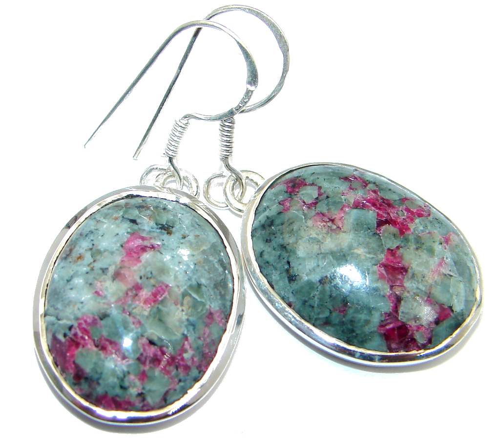 Excellent Green Russian Eudialyte Sterling Silver handmade earrings
