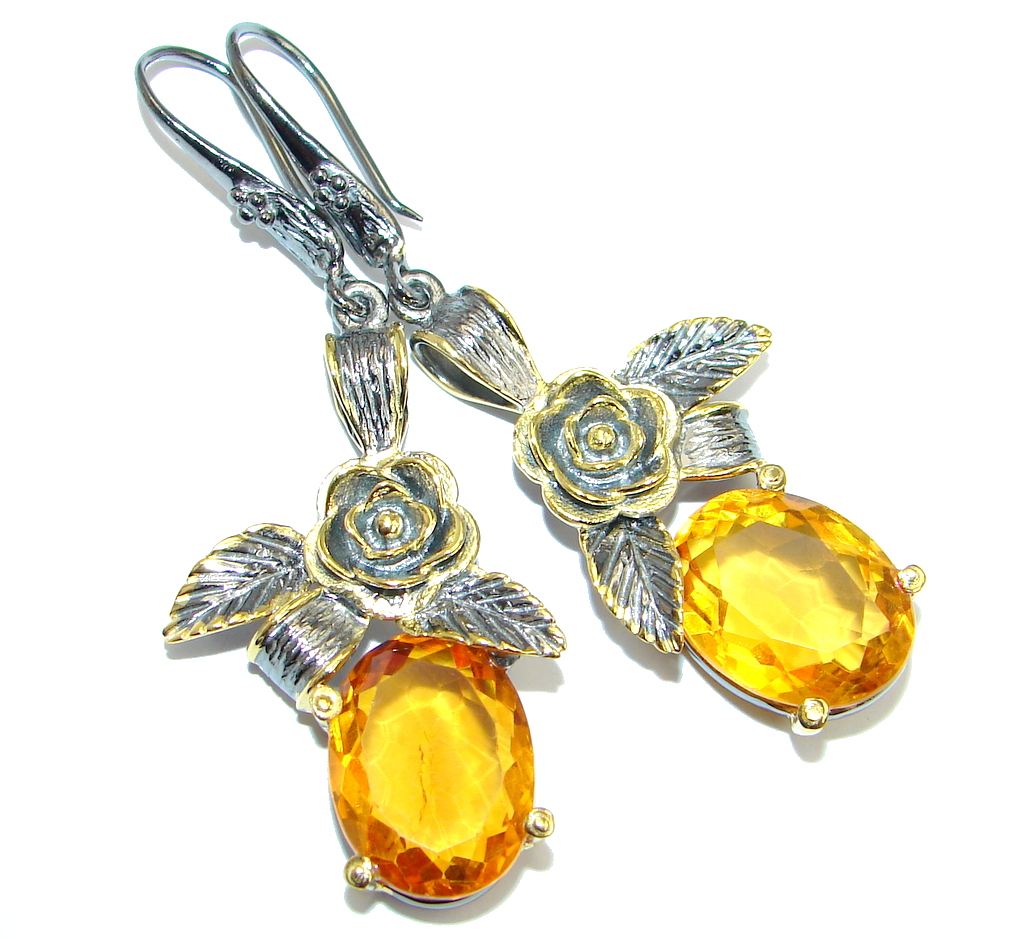 Amazing Yellow Citrine Gold Rhodium plated over Sterling Silver Earrings