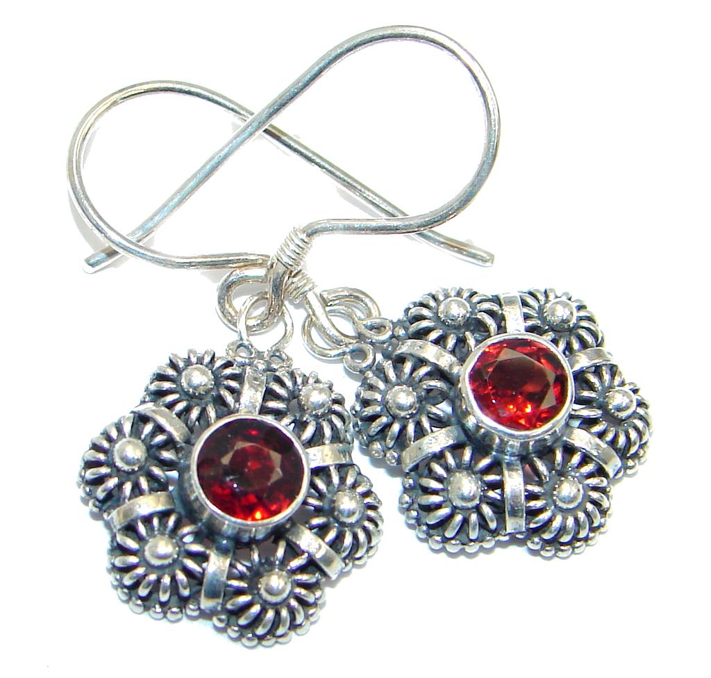Genuine Garnet Sterling Silver handmade earrings