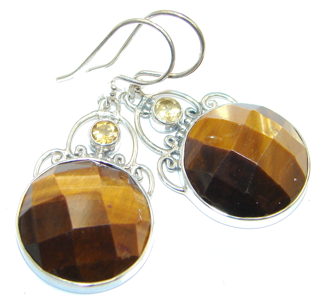 Classic Golden Tigers Eye Sterling Silver Earrings