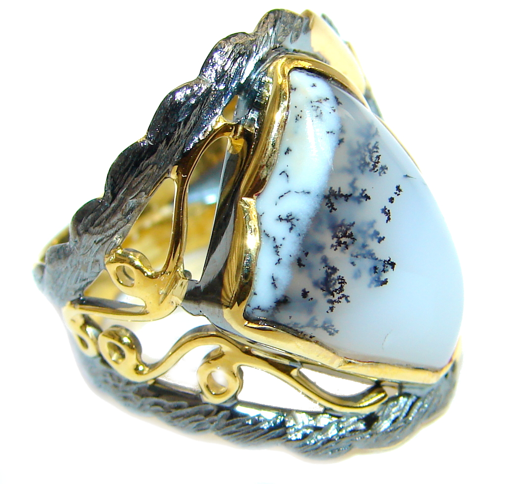 Snow Queen Dendritic Agate Gold Rhodium Plated over Sterling Silver Ring s. 8