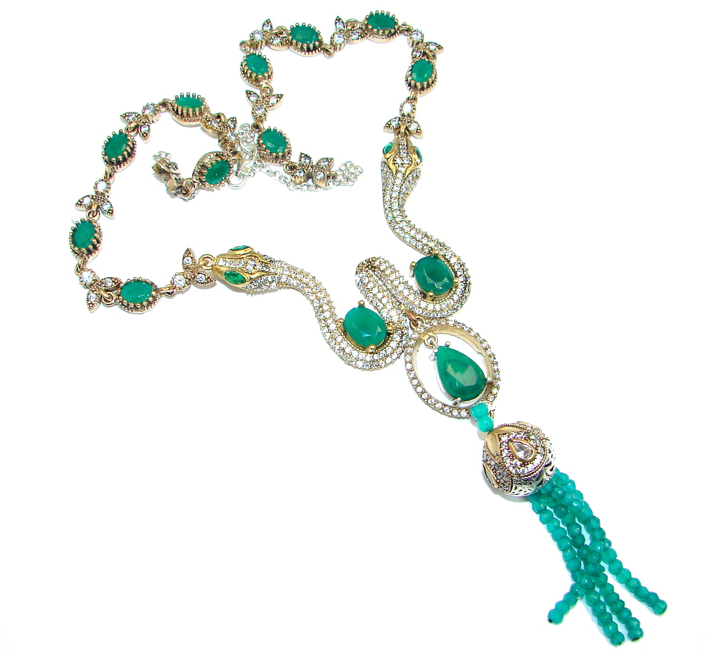 Snakes Victorian Style created Emerald & White Topaz copper over Sterling Silver necklace
