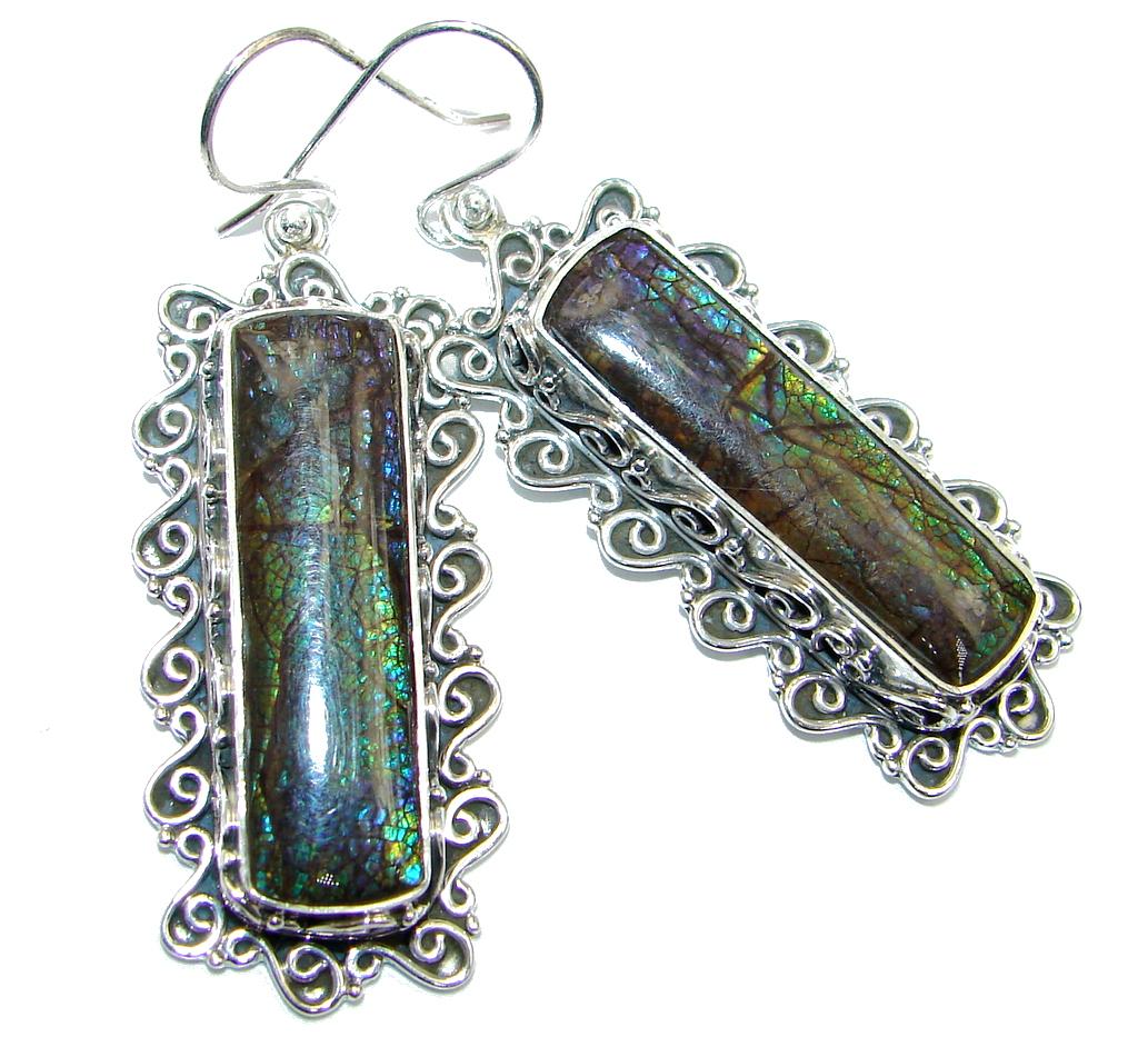 Beautiful Fire Ammolite handmade Sterling Silver earrings