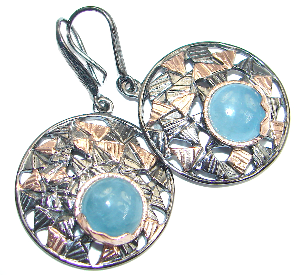 Genuine Blue Aquamarine Rose Gold plated over Sterling Silver Earrings