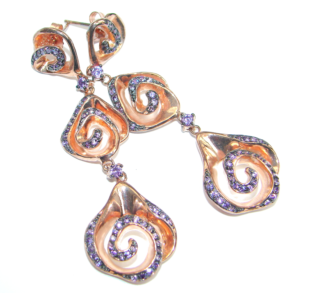 African Tanzanite Rose Gold Plated Sterling Silver stud earrings / Long