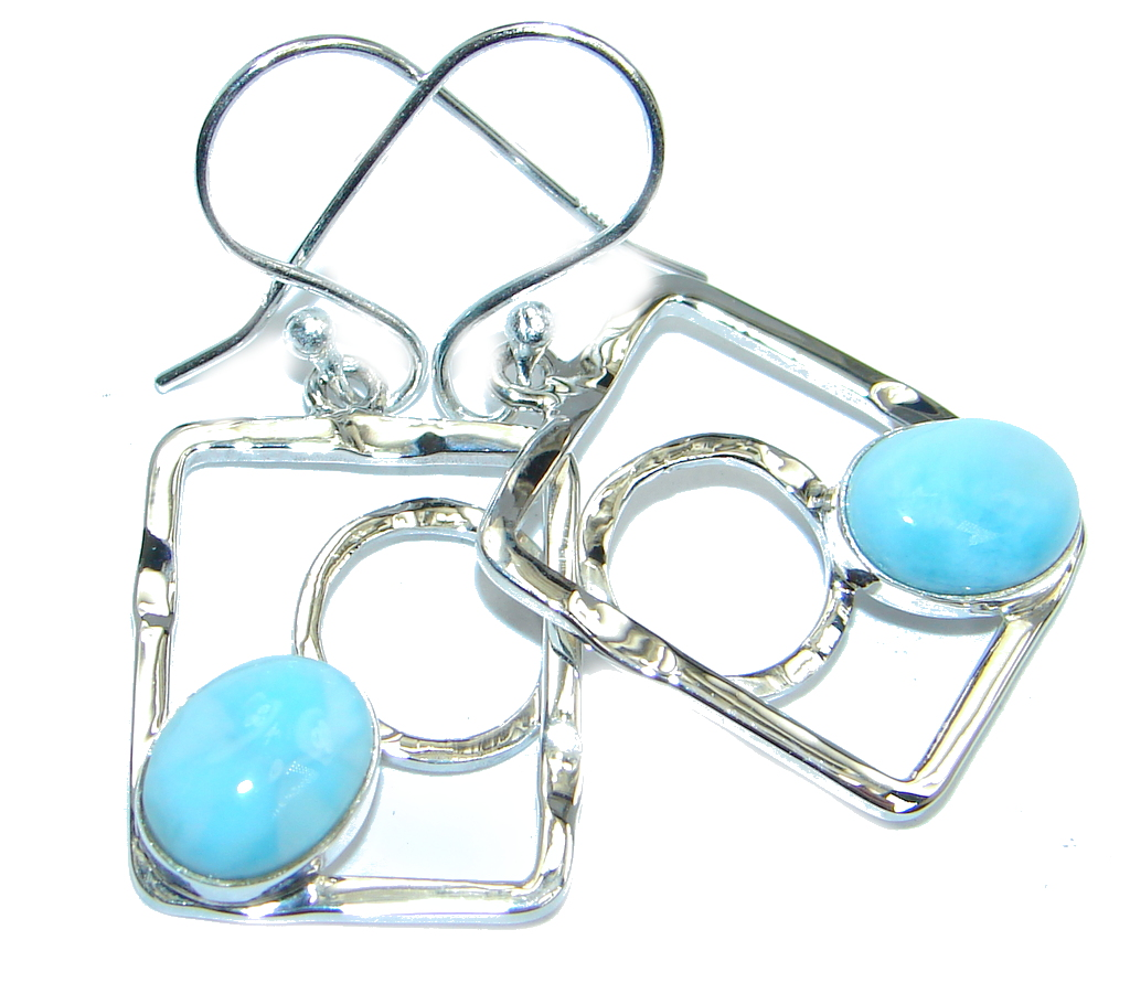 Caribbean Beauty AAA Blue Larimar Sterling Silver handmade earrings