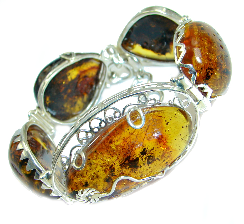 Beautiful Genuine Handcrafted Polish Amber Sterling Silver Bracelet/ Cuff