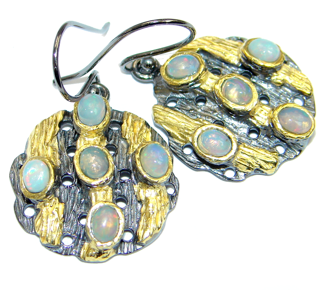 Ethiopian Fire Opal Gold plated over Sterling Silver handmade earrings