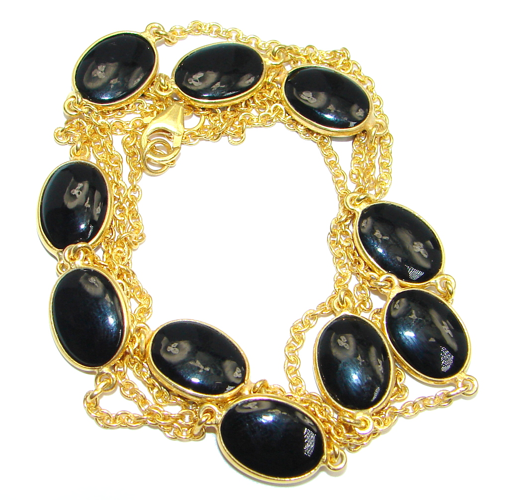 36 inches Genuine Onyx Gold over Sterling Silver handmade Necklace