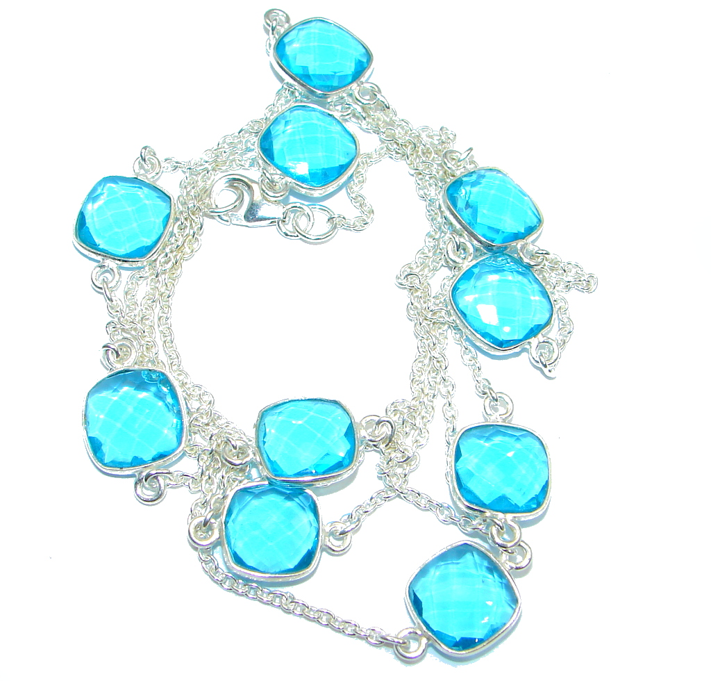 36 inches simulated Blue Topaz Sterling Silver handmade Necklace