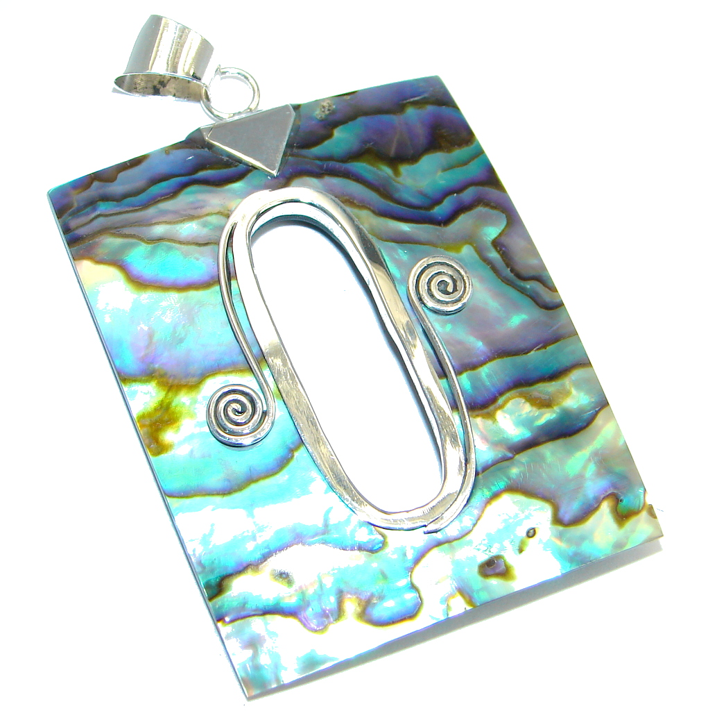 Natural Rainbow Abalone Sterling Silver handcrafted Pendant