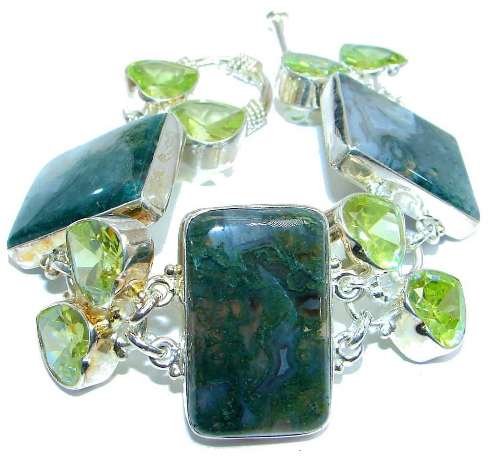 Huge Beautiful Moss Agate Silver Tone Bracelet