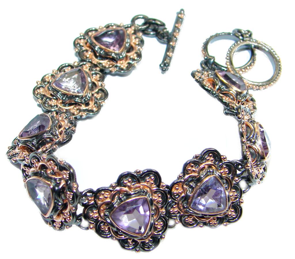 Chunky Amethyst Rose Gold plated over Sterling Silver handmade Bracelet