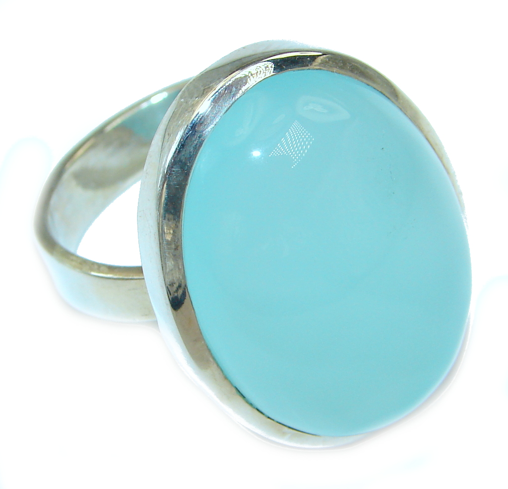 Perfect Aqua Agate Sterling Silver Ring s. 9