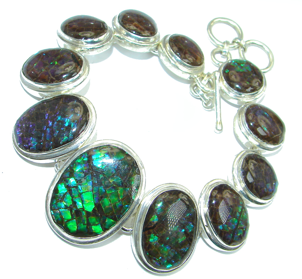 Natural AAA quality Canadian Red Ammolites Sterling Silver handmade Bracelet