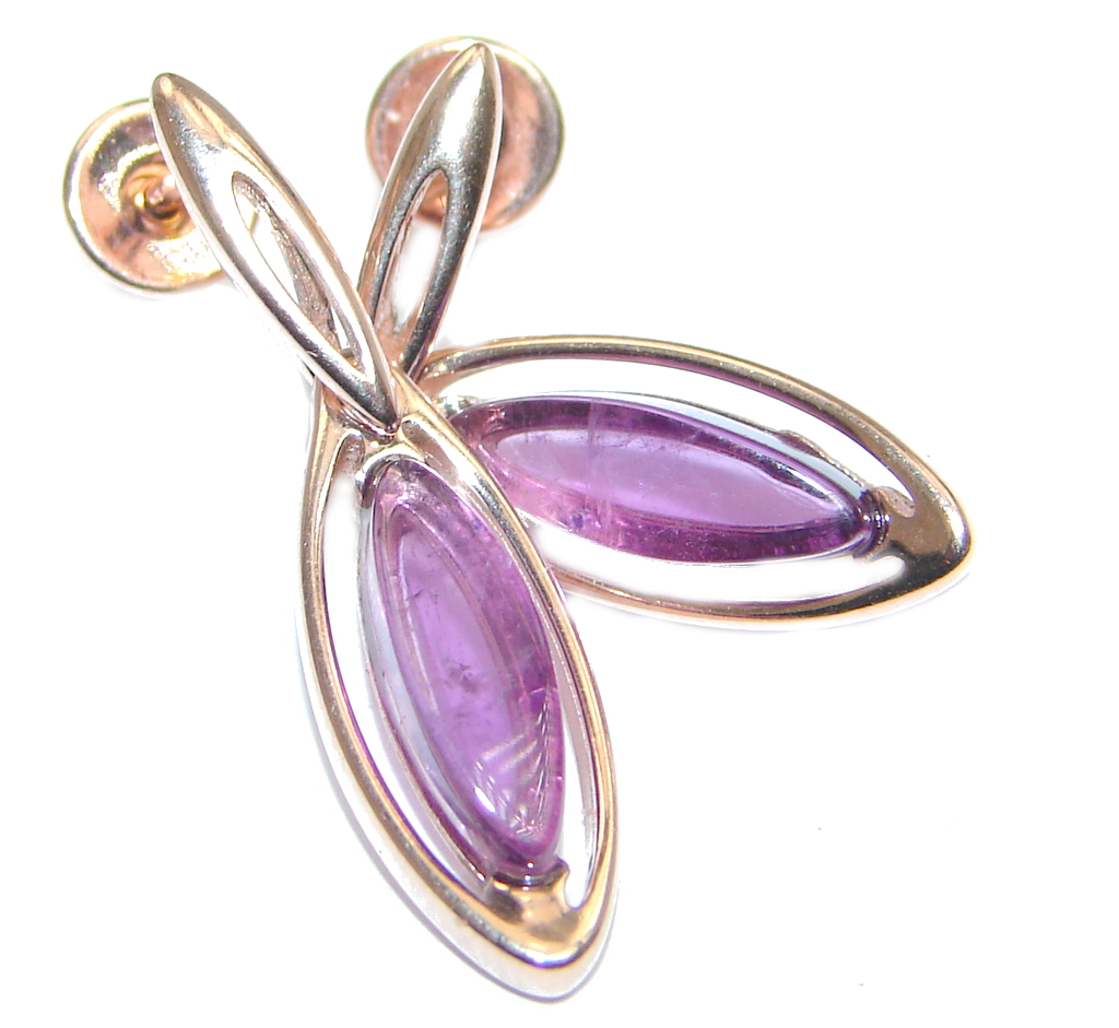 Marquise Natural Amethyst Rose Gold plated over Sterling Silver stud earrings