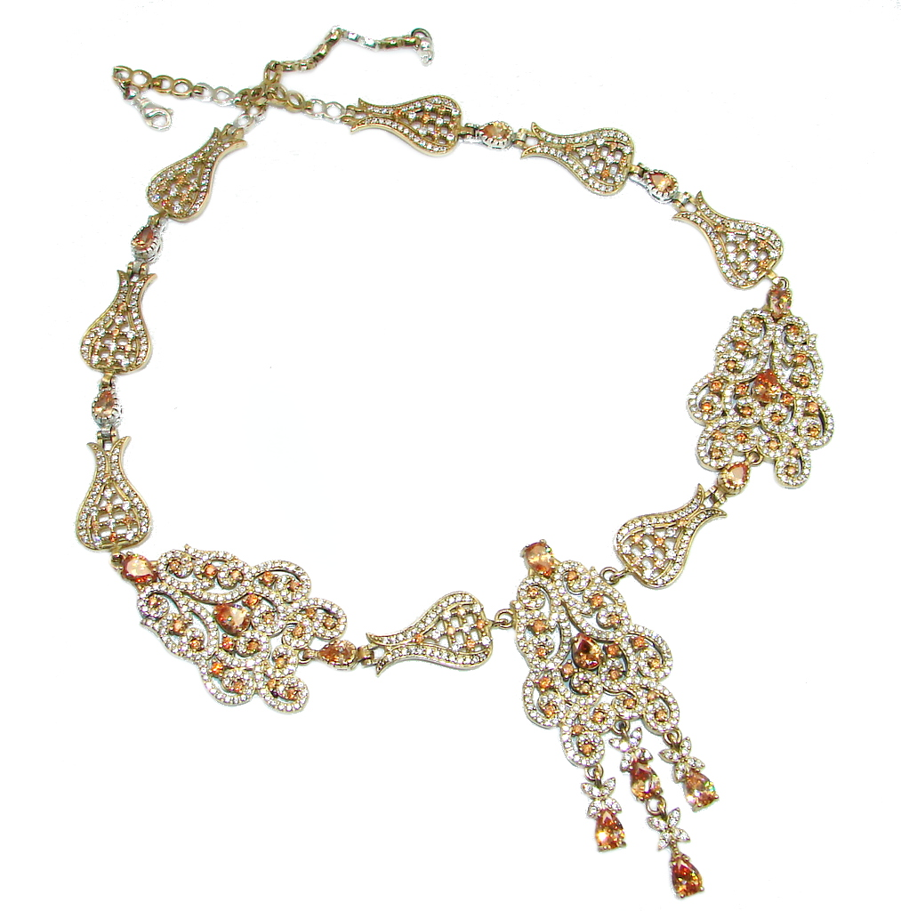 Large Victorian Style Golden Topaz copper over Sterling Silver Statment necklace