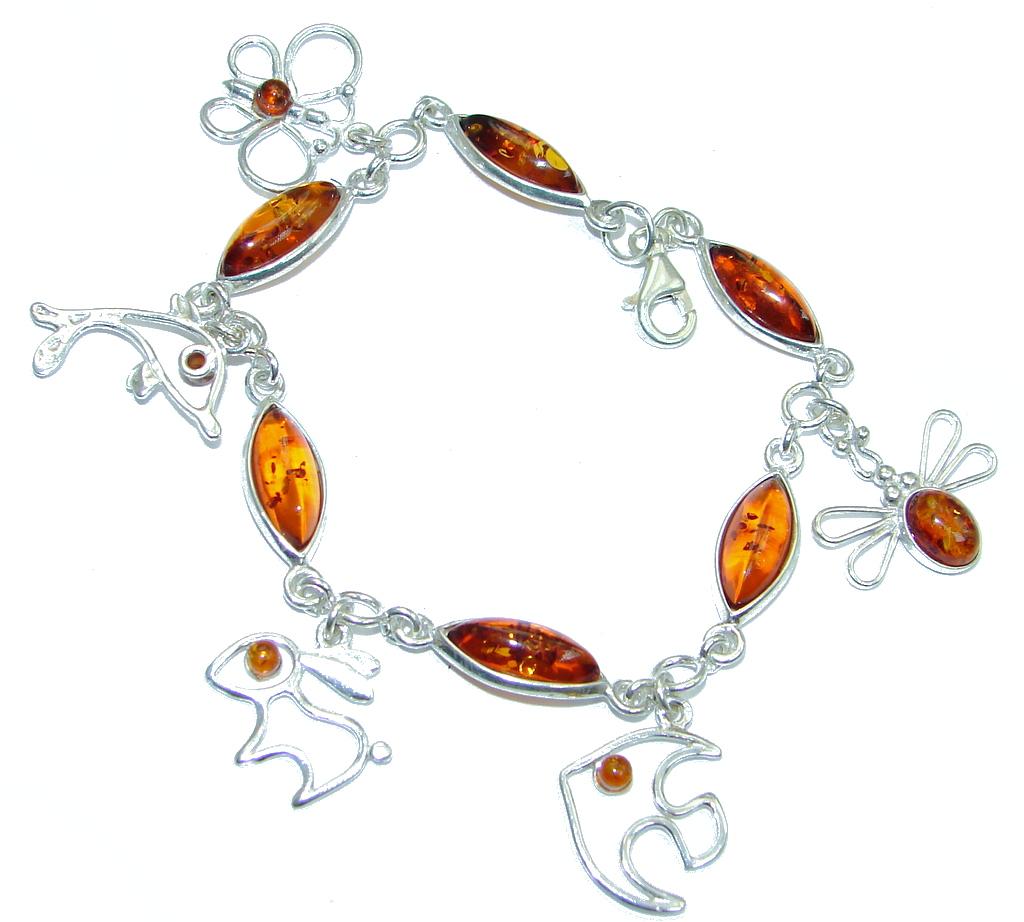 Natural BeautyPolish Amber Sterling Silver handmade Bracelet