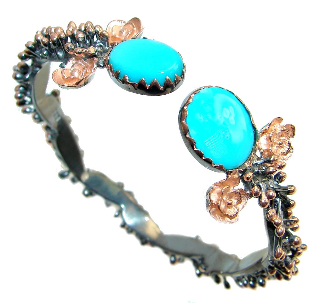 Genuine  Sleeping Beauty Turquoise Two Tones Sterling Silver Bracelet / Cuff