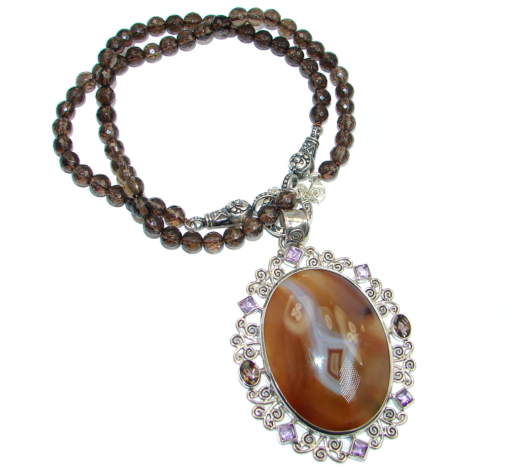 Gracious Genuine Botswana Agate Smoky Topaz Beads Sterling Silver handmade Necklace