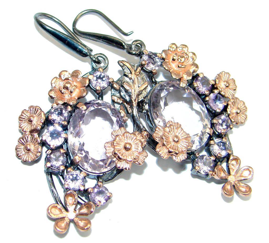 Floral Design Genuine Pink Amethyst Rose Gold plated over Sterling Silver earrings