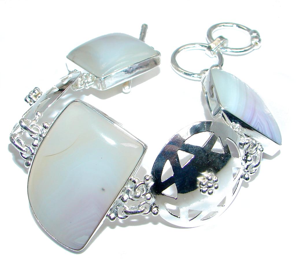 One of the kind huge Botswana Agate Sterling Silver Bracelet