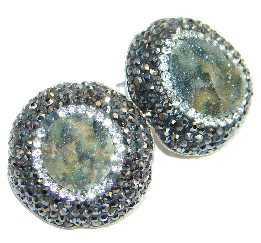 Agate Druzy Spinel Sterling Silver hand made earrings