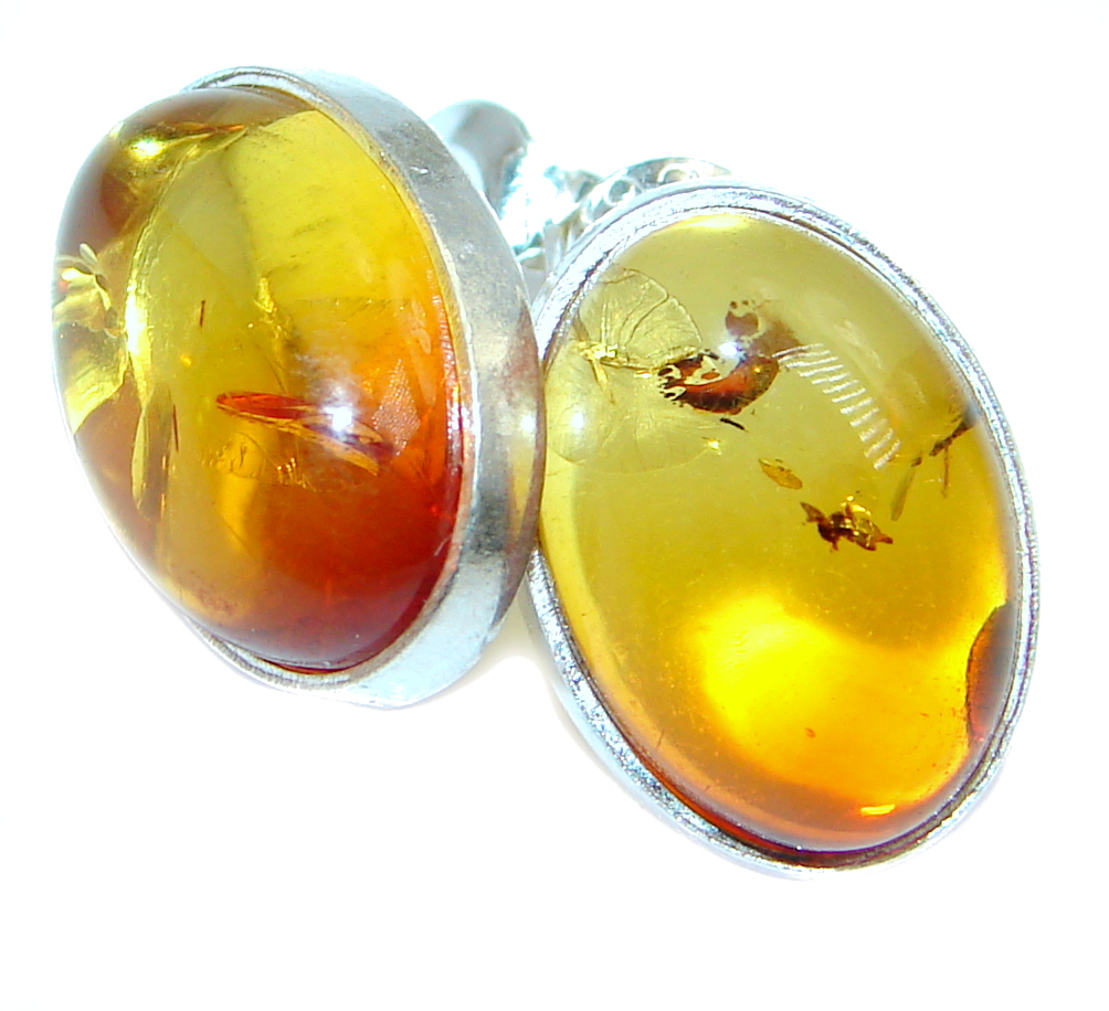 Beautiful Polish Amber Sterling Silver handcrafted stud Earrings