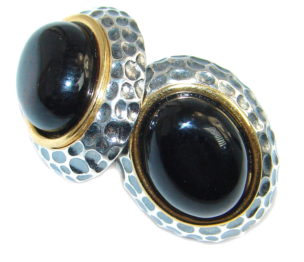 Vintage Design Polish Amber Two Tones Oxidized Sterling Silver handcrafted stud Earrings