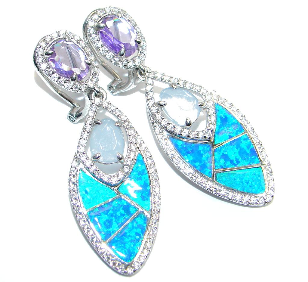 Huge Japanese Fire Amethyst Aquamarine Sterling Silver stud earrings