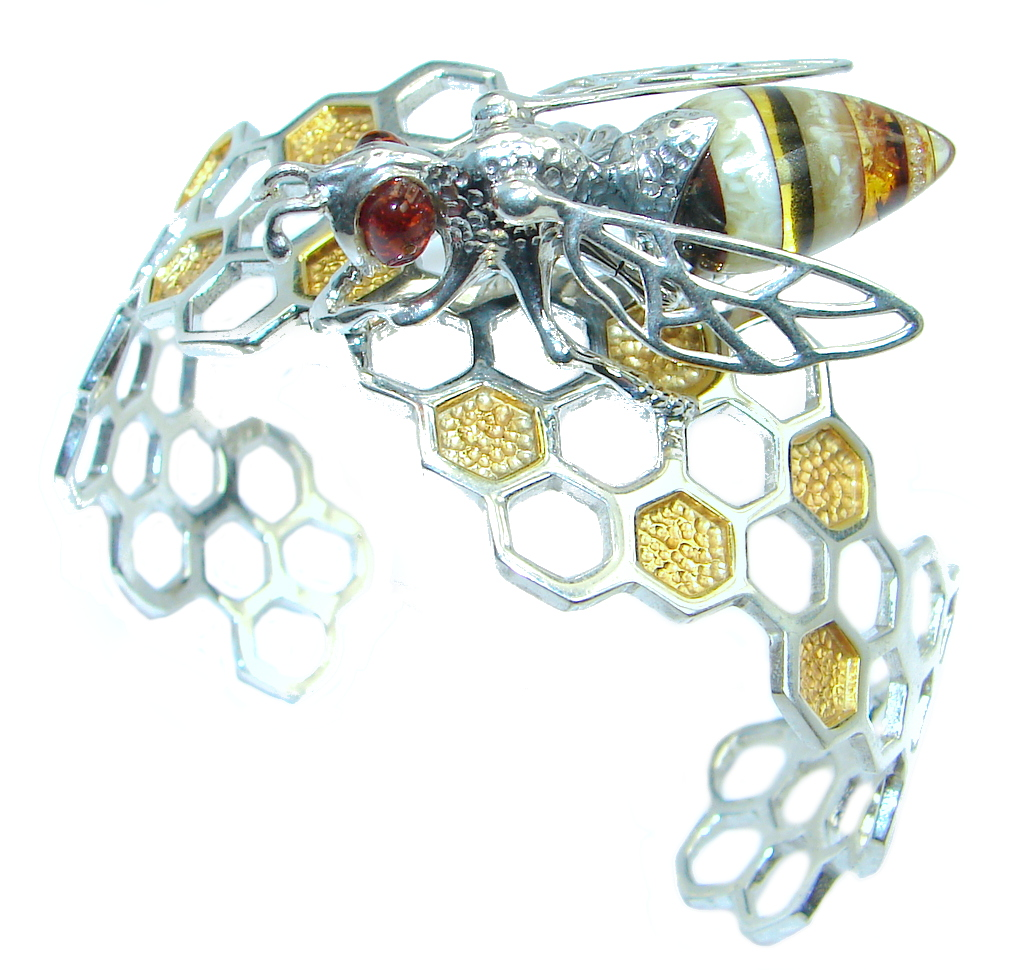 Real Master piece Honey Bee Polish Amber Two Tones Sterling Silver Bracelet / Cuff
