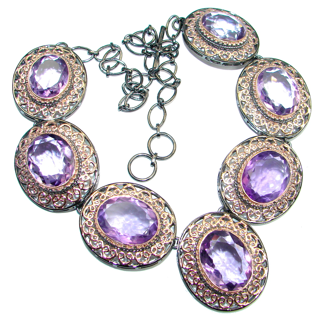 Ultra luxury natural Amethyst Rose Gold plated over Sterling Silver handmade 72.1 GRAMS Necklaces