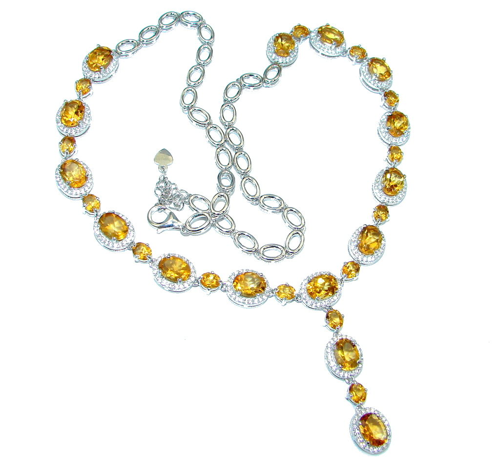Luxurious Natural Oval Top Rich Yellow Citrine W Cz 925 Sterling Silver Necklace