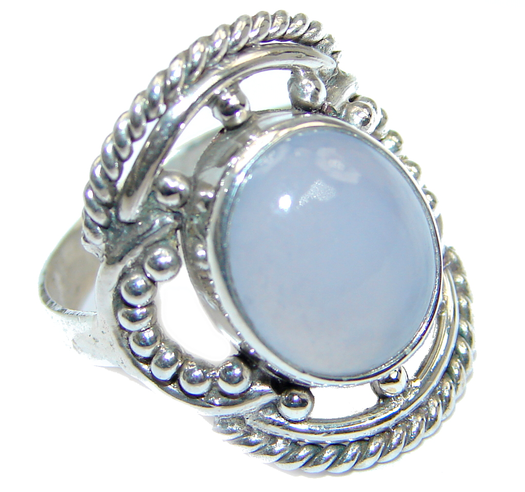 Blue Chalcedony Agate Sterling Silver Ring s. 6