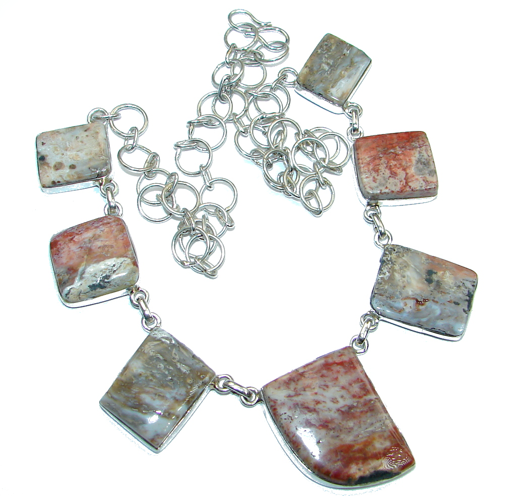 Great Plume Agate Sterling Silver handmade necklace