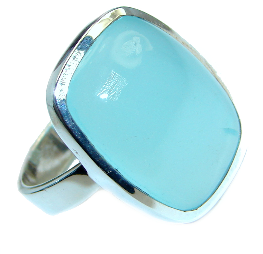 Blue Chalcedony Agate Sterling Silver Ring s. 8 1/4