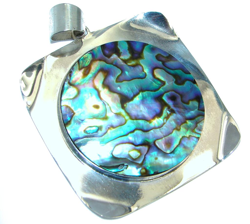 Jumbo Natural Rainbow Abalone Sterling Silver handmade Pendant